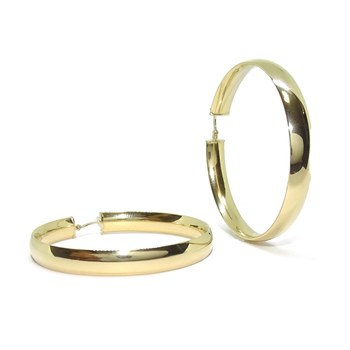 EARRINGS HOOPS VERY LARGE 18K YELLOW GOLD 6MM WIDE AND 4.4 CM DI�METRO OUTSIDE. NEVER SAY NEVER