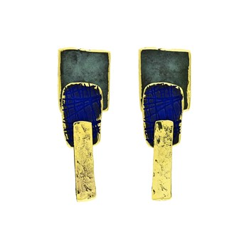 EARRINGS IN BRONZE, AND PATINA IN GREEN AND BLUE. DIMENSIONS 6 X 1 CM FP S83-BVA FILI PLAZA