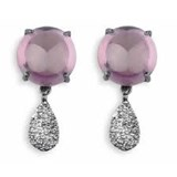 EARRINGS ROCK CRYSTAL PINK TRANSLUCENT STERLING SILVER OXIDIZED TEAR BRIGHTNESS CE33B CE33D SILVER STICK Plata de palo