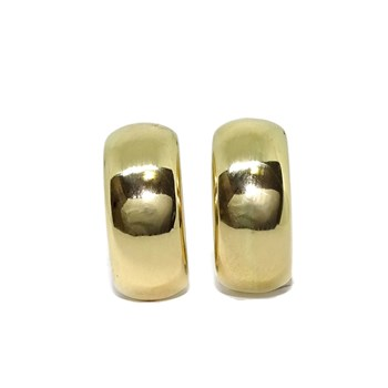 GOLD EARRINGS YELLOW BRIGHTNESS OF 2.00 CM HIGH BY 8MM WIDE WITH CLOSE OMEGA NEVER SAY NEVER