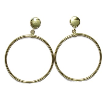 EARRINGS OF YELLOW GOLD 18K WITH A CIRCLE OF 5MM AND RING 2.50 MM DI�METRO OUTSIDE. CLOSE PR NEVER SAY NEVER