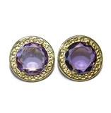 EARRINGS OF YELLOW GOLD OF 18KTES WITH AMETHYST. NEVER SAY NEVER