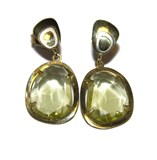 EARRINGS OF YELLOW GOLD OF 18KTES WITH FINE STONE OF GREEN COLOR NEVER SAY NEVER