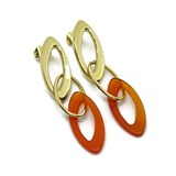 EARRINGS OF YELLOW GOLD OF 18KTES WITH COLORED RESIN. PRESSURE NEVER SAY NEVER