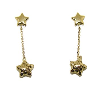 EARRINGS OF YELLOW GOLD OF 18KTES LONG 2.8 CM PRESSURE NEVER SAY NEVER