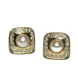 Pendientes de oro amarillo de 18Ktes, perla cultivada de 4mm y circonitas Never say never