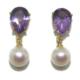 EARRINGS OF YELLOW GOLD OF 18KTES, CULTURED PEARL AND AMETHYST. NEVER SAY NEVER