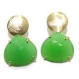 EARRINGS OF YELLOW GOLD OF 18KTES AND JADE TINTED NEVER SAY NEVER