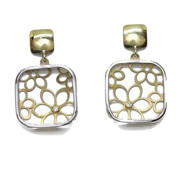 GOLD EARRINGS YELLOW AND WHITE 18K SQUARE 1.60 CM 1.60 CM NEVER SAY NEVER