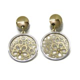 GOLD EARRINGS YELLOW AND WHITE 18KTES SPRING SPECIAL WITH 2 ZIRCONS NEVER SAY NEVER