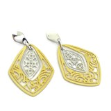 NEVER SAY NEVER, GOLD EARRINGS YELLOW AND WHITE 18KTES. PRESSURE