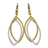 GOLD EARRINGS YELLOW AND WHITE 18KTES LONG NEVER SAY NEVER