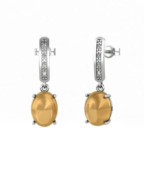EARRINGS WHITE GOLD 18 KT WITH BRILLIANT 0,05 CT AND THE CITRINE, CRESBER