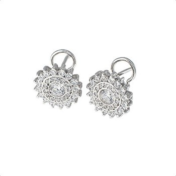 SPECTACULAR EARRINGS WHITE GOLD 18 KT WITH DIAMONDS 1.37 CT . CRESBER