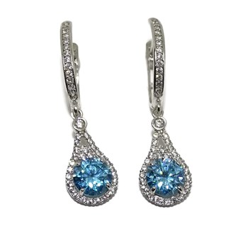 EARRINGS OF WHITE GOLD OF 18KTES WITH ZIRCONS . 3CM LONG NEVER SAY NEVER