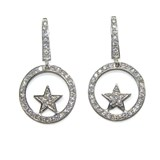 EARRINGS OF WHITE GOLD OF 18KTES WITH STAR AND ZIRCONS NEVER SAY NEVER