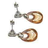 EARRINGS OF WHITE GOLD OF 18KTES WITH FINE STONE COLOR AND CUBIC ZIRCONIA.3.1 CM NEVER SAY NEVER