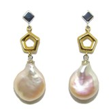 GOLD EARRINGS WHITE AND YELLOW 18KTES WITH CULTURED PEARL 11MM NEVER SAY NEVER
