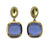 EARRINGS OF YELLOW GOLD OF 18KTES WITH CHALCEDONY. PRESSURE NEVER SAY NEVER