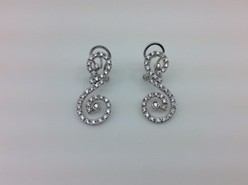 EARRINGS IN SILVER RHODIUM-PLATED AND ZIRCONS 3693