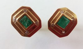 EARRINGS EMERALDS DIAMONDS GOLD 750/000
