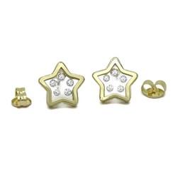 Pendientes estrellas de oro amarillo de 18k con 10 circonitas de la mejor calidad Never say never
