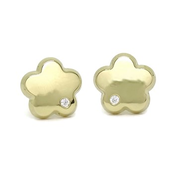 EARRINGS FLOWER 18K YELLOW GOLD WITH ZIRCONS OF THE HIGHEST QUALITY. 1.00 CM OF DI�METRO. NEVER SAY NEVER