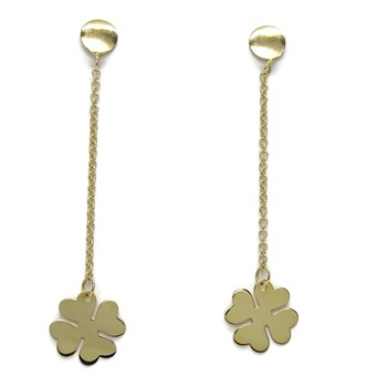 DANGLING EARRINGS IN 18K YELLOW GOLD CLOVER LUCKY 4 LEAF 4.7 CM LONG. NEVER SAY NEVER