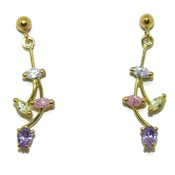 Pendientes largos de oro amarillo de 18ktes y 8 circonitas de color Never say never