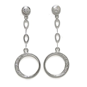DANGLING EARRINGS IN 18K WHITE GOLD AND ZIRCONS. CLOSING PRESSURE�N. NEVER SAY NEVER