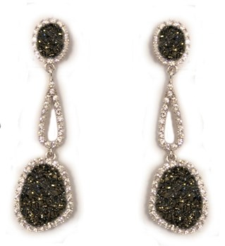 DANGLING EARRINGS OF SILVER 0413/5 KAVAK DIAMONDS