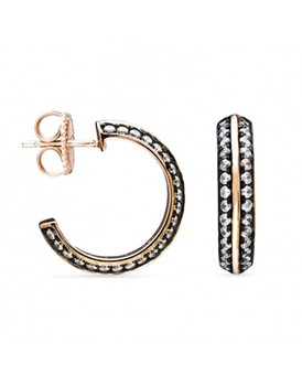 EARRING LUXENTER SILVER WITH BA�OR ROSE GOLD AND ZIRCONS ET17R0100