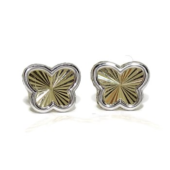 EARRINGS BUTTERFLY GOLD YELLOW AND WHITE GOLD IN 18K FOR GIRL AND YOUNG GIRL. PRESSURE NEVER SAY NEVER