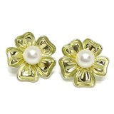 EARRINGS 18K YELLOW GOLD FLOWER WITH A CULTURED PEARL OF 8MM. CLOSE OMEGA NEVER SAY NEVER