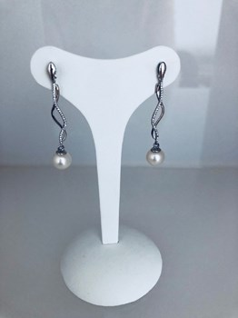 EARRINGS WHITE GOLD 18 CARATS WITH NATURAL PEARL 214063WA