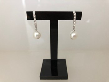 EARRINGS WHITE GOLD WITH CULTURED PEARL 562578A