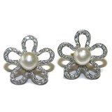 EARRING 'LETIZIA' WHITE GOLD 18KTES, PEARL CULITVADA OF 5MM AND ZIRCONS NEVER SAY NEVER