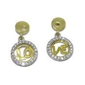 """NEVER SAY NEVER Pendientes """"Love"""" de oro amarillo y oro blanco de 18Ktes con circonitas. presión"""