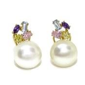 Pendientes oro y perlas de 11mm con circonitas de color y cierre omega Never say never