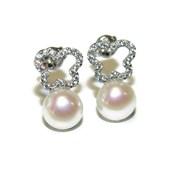 Pendientes para comunión de oro blanco de 18Ktes, circonitas y perla de 7mm Never say never