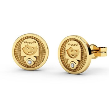 EARRINGS YELLOW GOLD 18 KT WITH REASON COMUNI�N, TO 0.016 CTS DIAMONDS, CRESBER