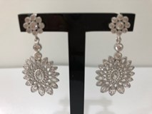EARRINGS SILVER RHODIUM-PLATED WITH ZIRCONS 14729A