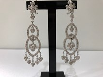 EARRINGS SILVER RHODIUM-PLATED WITH ZIRCONS SET 3656