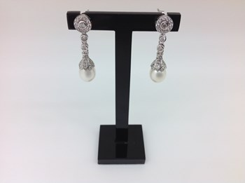 EARRINGS SILVER RHODIUM-PLATED WITH PEARL 11936-TO LINEARGENT 11936-A