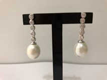 EARRINGS SILVER RHODIUM-PLATED WITH PEARLS 9166-TO LINEARGENT 9166-A