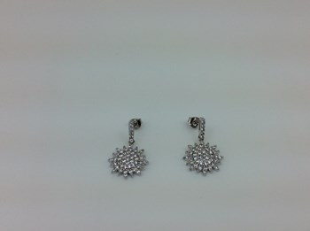EARRINGS SILVER RHODIUM-PLATED AND ZIRCONS 11935-TO LINEARGENT 11935-A