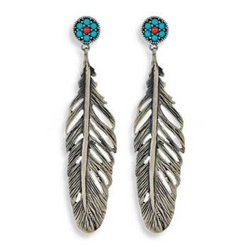 STERLING SILVER EARRINGS TURQUOISE FEATHERS BRONZE CE7C SILVER STICK Plata de palo