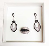 EARRINGS AND RING AJUEGO J10211 LINEARGENT