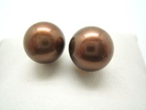 Boucles d'oreilles perles de culture Brown