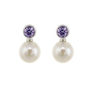 CULTURED PEARL EARRINGS STONE LILAC